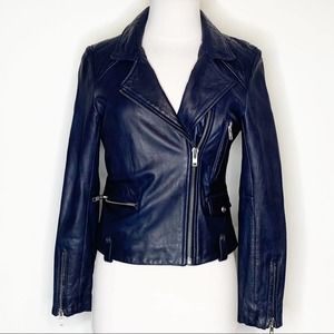 Doma leather motorcycle jacket dark blue